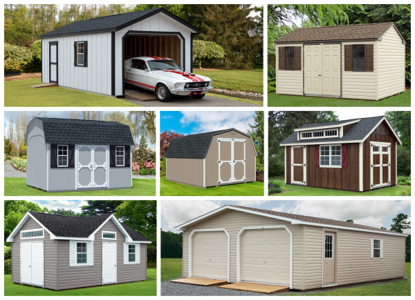 Collage of sheds, garages, and other buildings